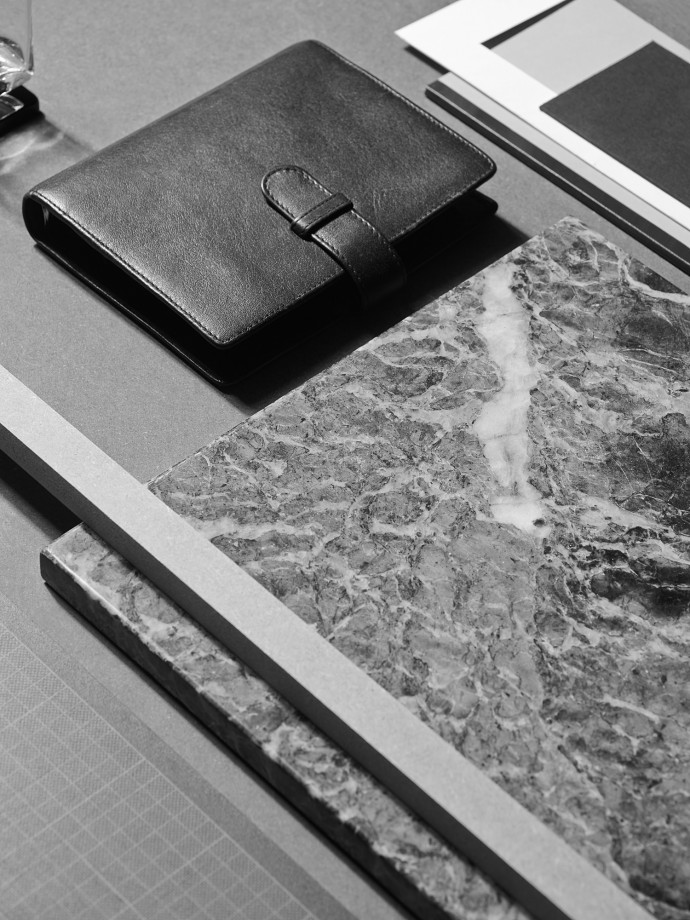 Stationery. Black and white still life photography for Capco New York. Diary and marble