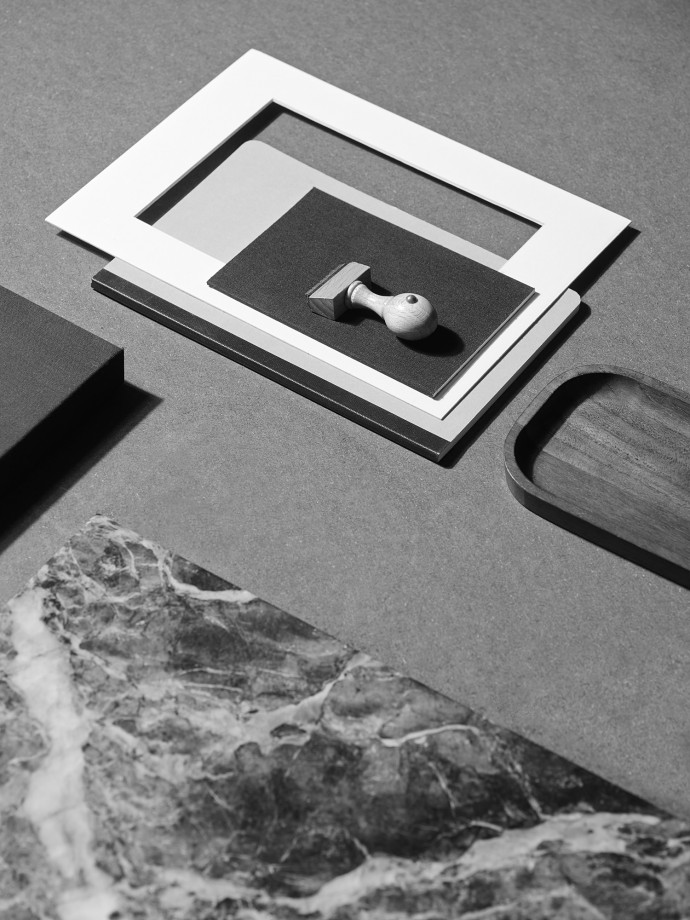 Stationery. Black and white still life photography for Capco New York. Stamp and marble