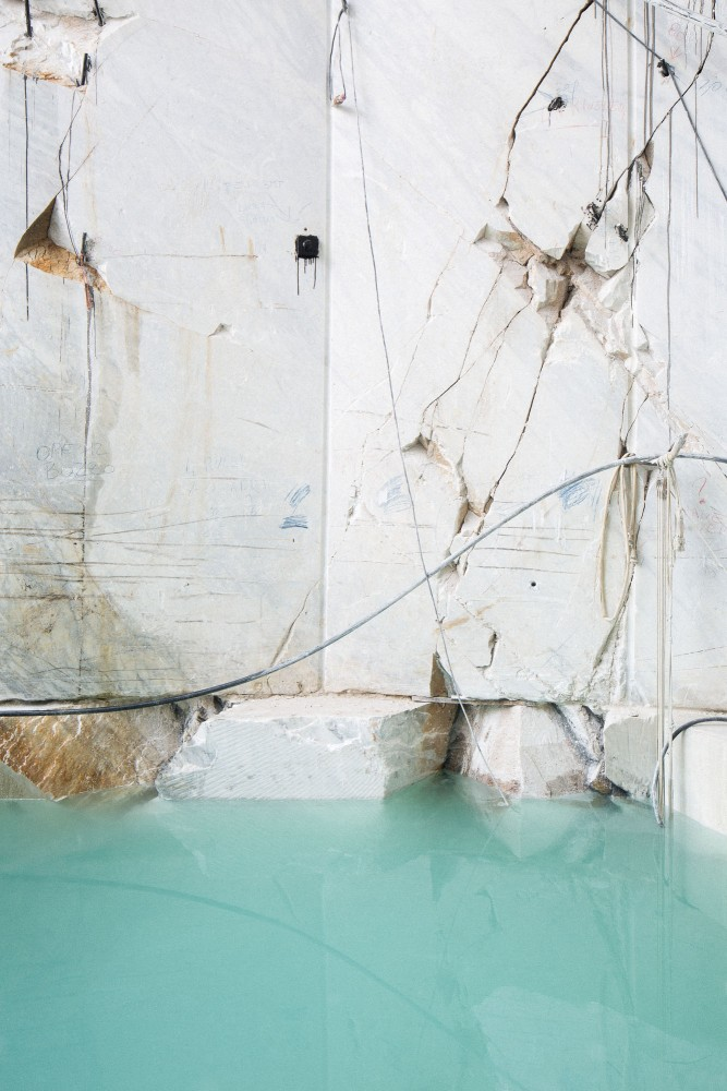 Water blue. Carrara marble quarry